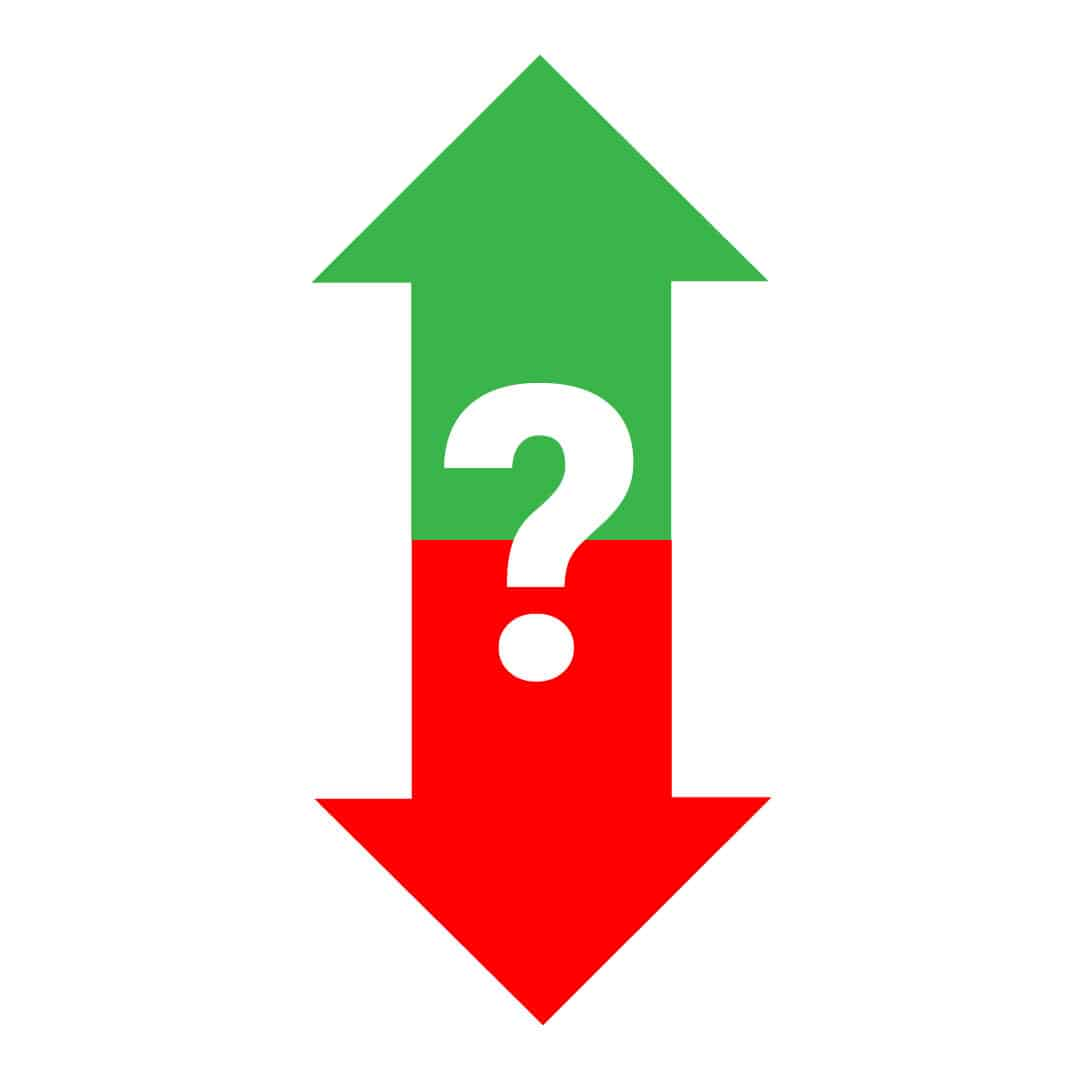 Arrows pointing up or down with a question mark.