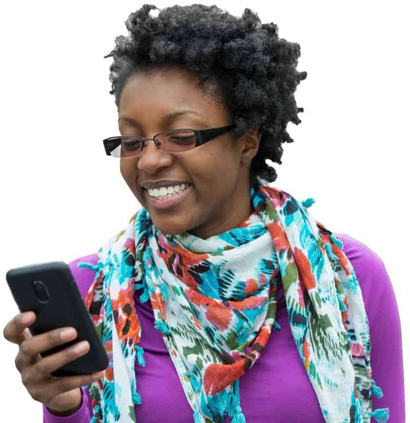 Woman checking phone.